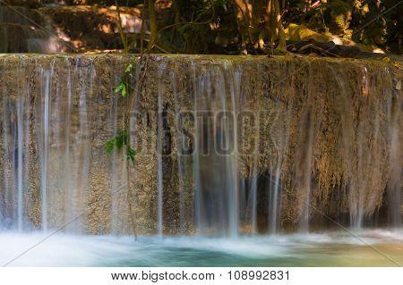 Closed up fresh blue stream water falls