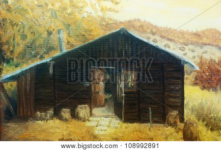 wooden cabin in a forest in the mountains, painting sepia effect