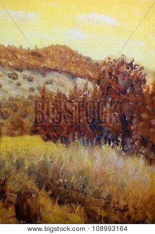 Beautiful Original Oil Painting Landscape On Canvas. Sepia color