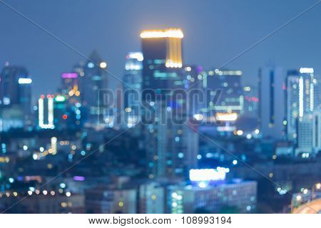 Abstract blurred bokeh lights city downtown