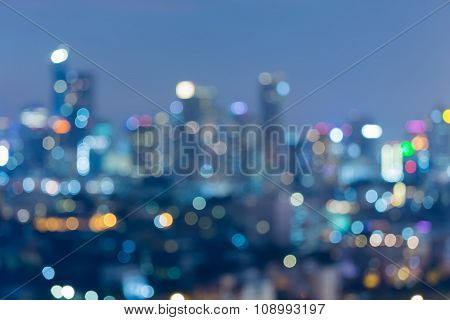 Blurred bokeh light city downtown night view