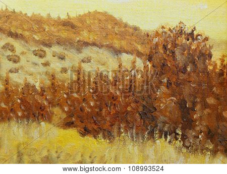 Beautiful Original Oil Painting Landscape and tree On Canvas. Sepia color.