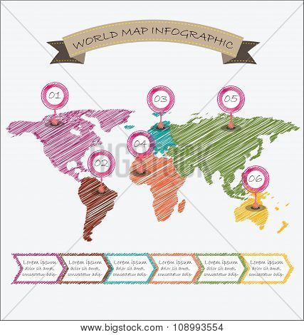 World Map Illustration Infographics Geometric Sketch Design