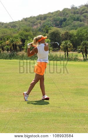 Ladies Pro Golfer Carly Booth Powerful Drive Shot On November 2015 In South Africa