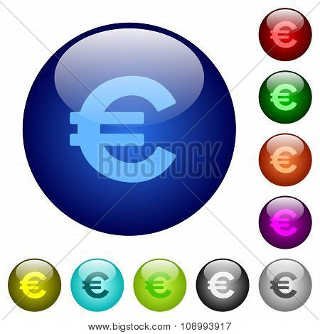 Color Euro Sign Glass Buttons