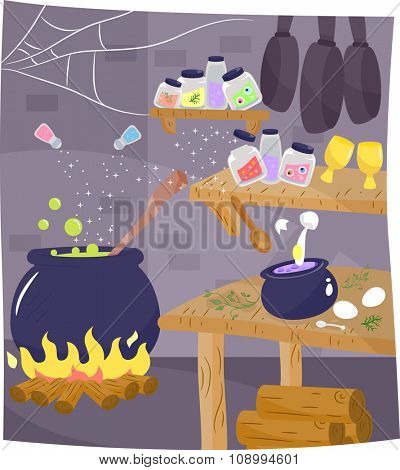 Illustration of the Kitchen of a Witch with a Potion Brewing in the Corner