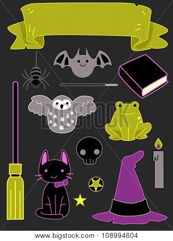 Illustration of Ready to Print Stickers with a Halloween Theme