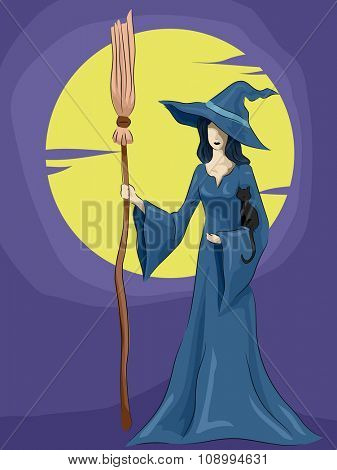 Halloween Illustration of a Witch Framed by the Full Moon