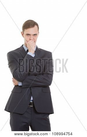 gestures distrust lies. body language. man in business suit isolated on white background. closed pos