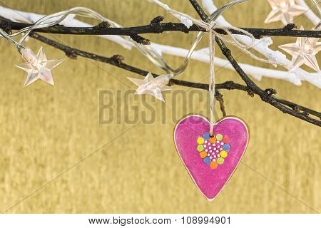 Christmas Ornament With Gingerbread Heart And Stars Lights