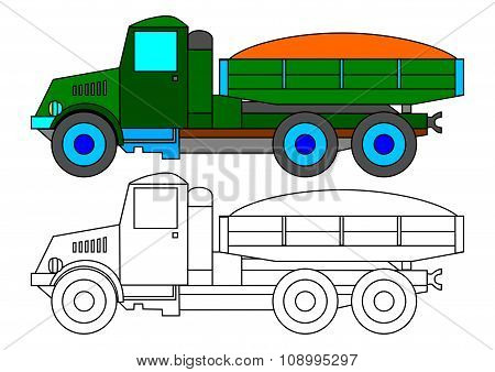 Green Lorry As Coloring Book For Kids - Illustration