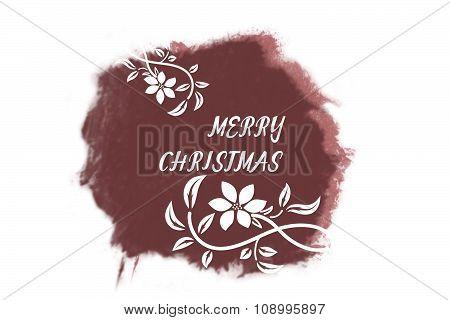 Italic white New Year greetings on bright marsala watercolor spot