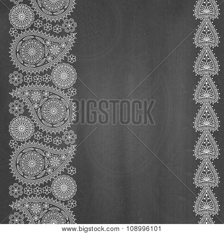 Floral  paisley background with place for your text. Chalkboard background. Vector illustration