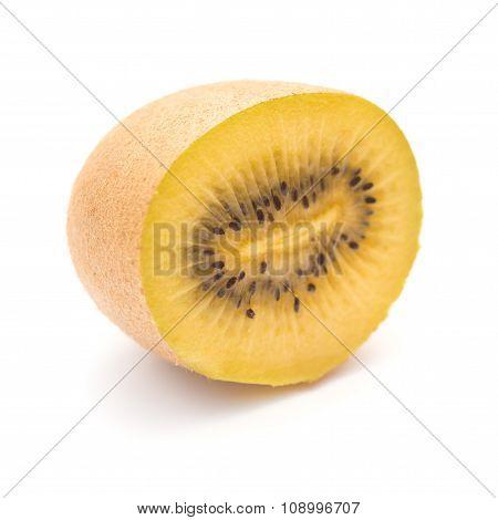 Golden Fresh Kiwi Fruit Section On A White Background