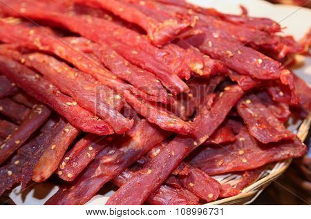 Strips Of Flesh Very Spicy Called Coppiette Typical Italian Specialties
