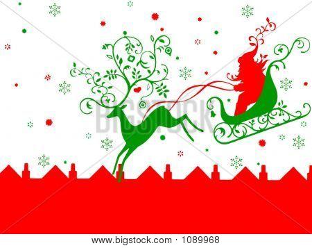 Rheindeer Pulling Santa On His Sleigh. Christmas