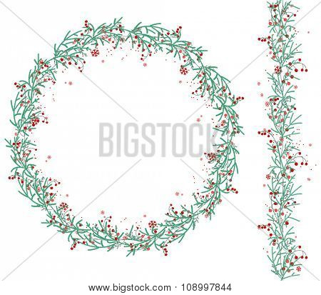 Round Christmas wreath with snow and fir branches isolated on white. Endless vertical pattern brush. For festive design, announcements, postcards, posters.