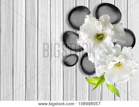 Black Spa Stones With Flower On White Wooden Background