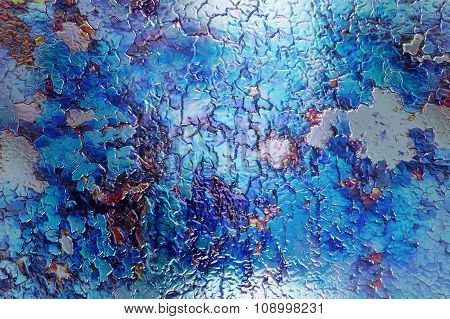 Color abstract background and desert crackle, glass effect. or ice structure.
