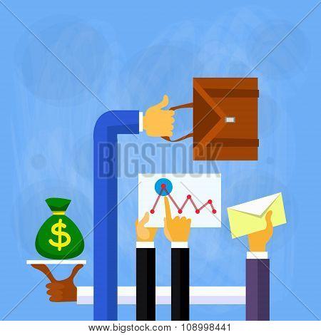 Business People Hands Finance Flat Vector