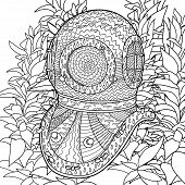 Постер, плакат: Divers helmet in coloring pages for adults