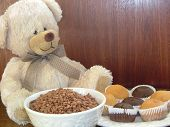 picture of teddy-bear  - Teddy bear sitting at breakfast table - JPG