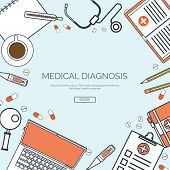 Vector illustration, lined. Flat medical background. First aid ,diagnostic. Medical research ,therap poster