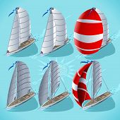 Постер, плакат: Sail Boat Set 01 Vehicle Isometric