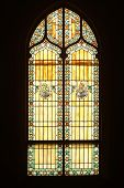 image of stained glass  - stained glass window from inside of church  - JPG