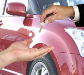 image of car key  - handing over the keys for a new car - JPG
