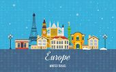 Постер, плакат: Travel to Europe for winter Merry Christmas greeting card design