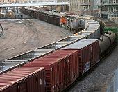 picture of railcar  - rail cars just outside an apartment near downtown denver colorado - JPG