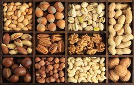 image of mixed nut  - Varieties of nuts - JPG