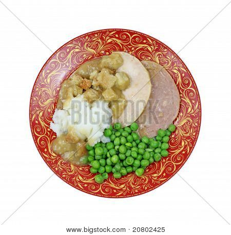 Overhead View Cooked Turkey Dinner