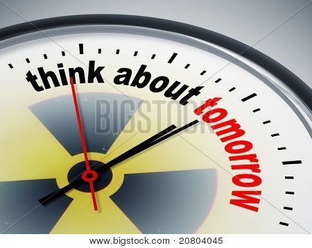 An image of a nice clock with think about tomorrow