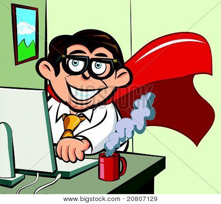 Cartoon superhero business man at his desk