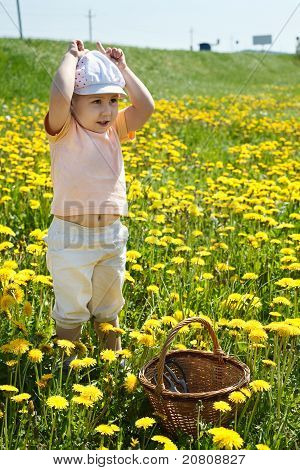 Little Child Standing On Field Of Flowers With Basket And Playing In Cow