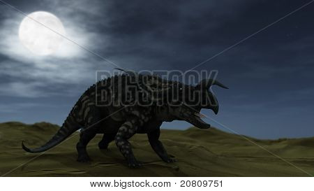 einiosaur in desert at night anxious