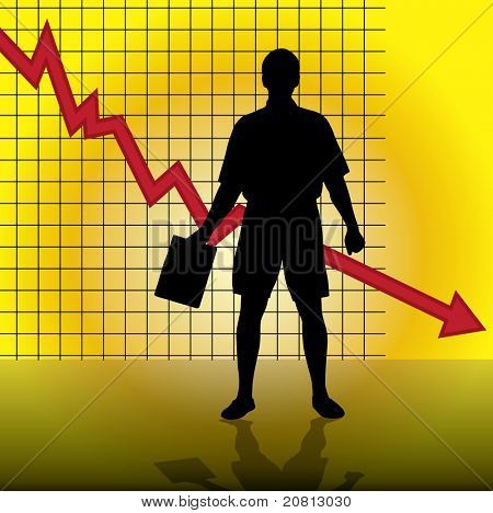 Businessman with diagram of crisis