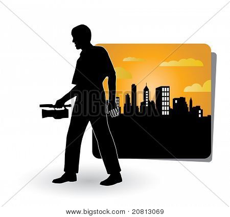 Vector illustration of man with video movie camera