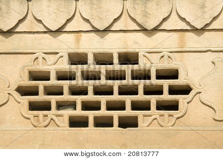 Window Grill In Stone Wall