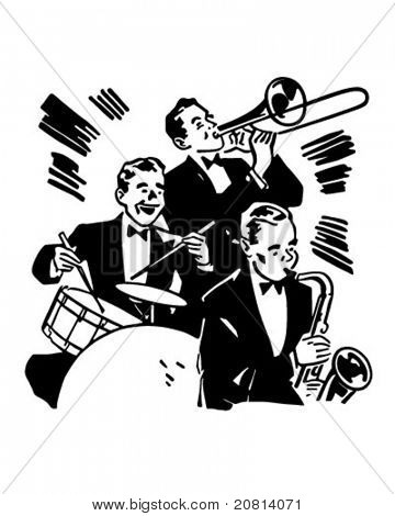 Big Band Drums And Horns - Retro Clipart Illustration
