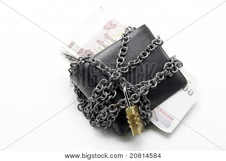 Leather Wallet With Pad Lock