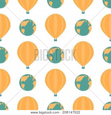 poster of Globe earth geography element seamless pattern planet map symbol vector illustration. Education toy graphic sphere. Geography travel element graphic sphere pictogram application.