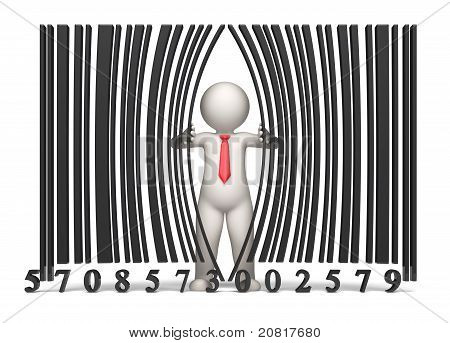 Bar Code - 3D Business Man