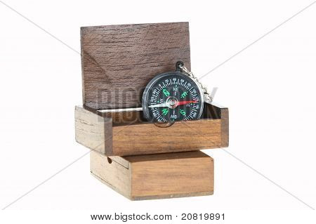Compass In Wood Chest