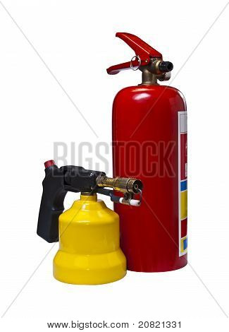 Fire Extinguisher And Gas Burner.