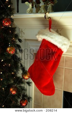 Christmas Stocking On Mantle