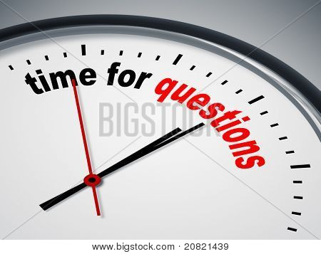 An image of a nice clock with time for questions