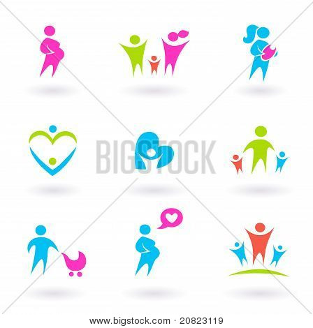 Family, Mother And Maternity Icons - Isolated On White.